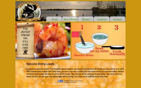 Screenshot of Home Page shrimpbrine.com - Fernandina Spice Company Shrimp Brine - captured Oct. 5, 2014