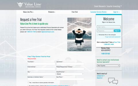 Screenshot of Trial Page valuelinepro.com - Free Trial | Value Line - captured Jan. 31, 2018