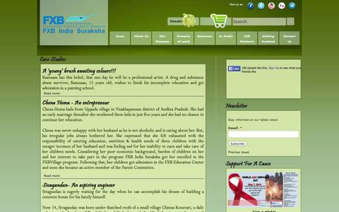 Screenshot of Case Studies Page fxbsuraksha.in - Case Studies | FXB INDIA SURAKSHA - captured Oct. 5, 2014