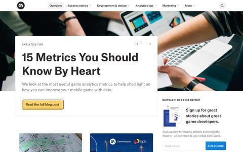 Screenshot of Blog gameanalytics.com - Game Dev News, Tutorials & Interviews - The GameAnalytics Blog - captured Sept. 26, 2018