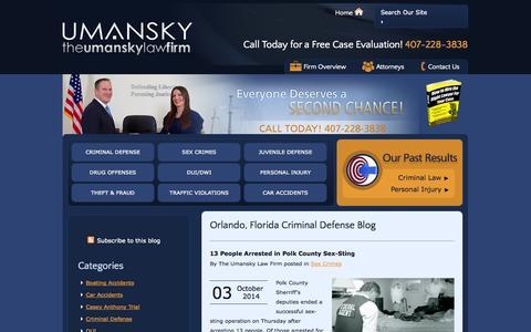 Screenshot of Blog thelawman.net - Orlando, Florida Criminal Defense Blog | The Umansky Law Firm - captured Oct. 6, 2014