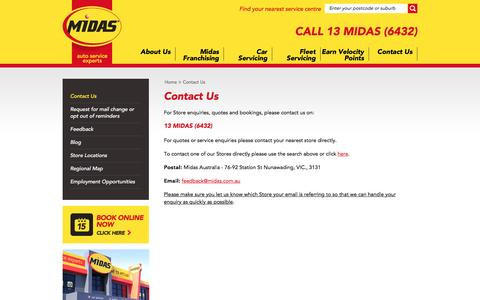 Screenshot of Contact Page midas.com.au - Midas - Car Service   Brake Service   Auto Service   Exhaust   Suspension - captured Nov. 28, 2016