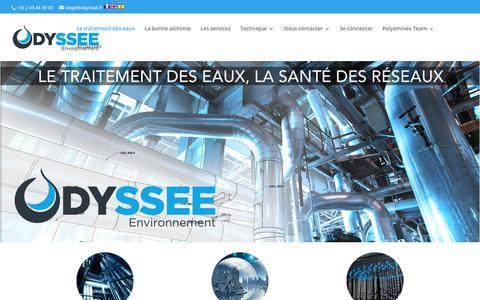 Screenshot of Home Page odyssee-environnement.fr - ODYSSEE Environnement – Le traitement des eaux, la santé des réseaux - captured Jan. 19, 2018