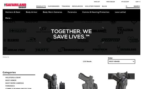 Screenshot of Products Page safariland.com - Law Enforcement Gear | The SAFARILAND Group - captured May 17, 2017