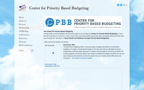 Screenshot of Testimonials Page pbbcenter.org - Directions - captured Oct. 2, 2014