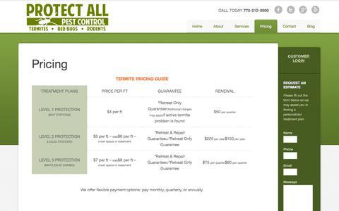Screenshot of Pricing Page protectallpestcontrol.com - Termite Treatment Woodstock, GA - Acworth - Pest Control Pricing - captured Sept. 30, 2014