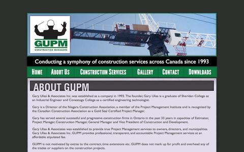 Screenshot of About Page gupm.ca - About GUPM | GUPM Construction Managers | Gary Ulias and Associates Inc. - captured Oct. 1, 2014