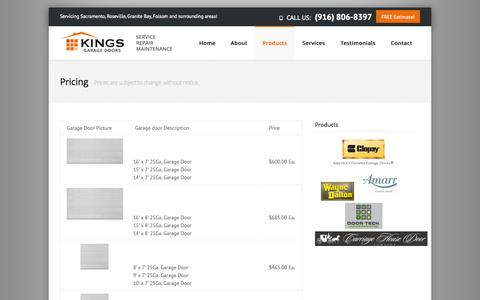Screenshot of Pricing Page kingsgaragedoor.net - Pricing ‹ Kings Garage Door - captured Sept. 30, 2014