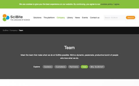 Screenshot of Team Page scibite.com - Our Team | SciBite - captured March 16, 2019