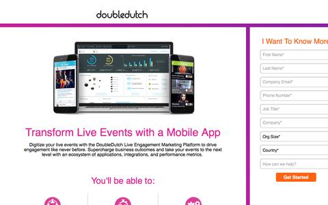 Screenshot of Landing Page doubledutch.me - Mobile Apps for Events and Conferences by DoubleDutch - captured Feb. 3, 2017