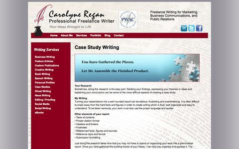 Screenshot of Case Studies Page carolyneregan.com - Case Studies   Case Study Writing Service - captured Oct. 22, 2014