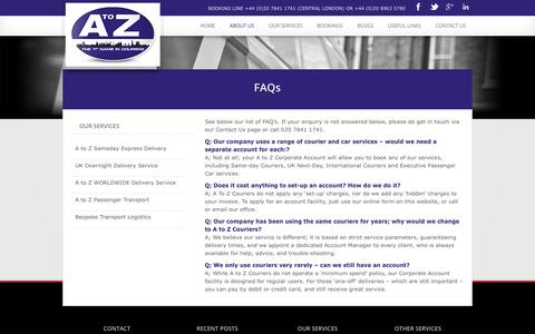 Screenshot of FAQ Page atozcouriers.co.uk - FAQs - A TO Z Couriers - captured Oct. 3, 2014