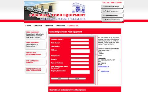 Screenshot of Contact Page corcorans.ie - Corcoran Food Equipment - complete food service solutions, specialist design for commercial kitchens & supermarket facilities, quality branded products supply, project management, installation and equipment training - captured Oct. 3, 2014