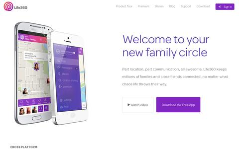 Screenshot of Home Page life360.com - Life360 - The New Family Circle - captured July 12, 2014