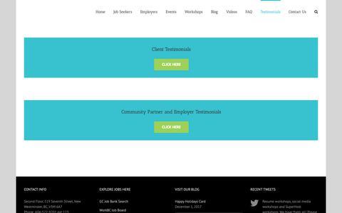 Screenshot of Testimonials Page fraserworks.ca - Testimonials | Fraser Works Co-op - captured Oct. 11, 2018