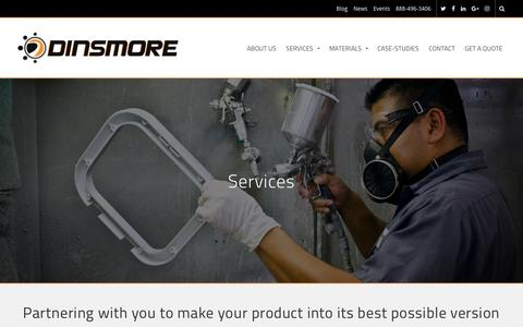 Screenshot of Services Page dinsmoreinc.com - Services - Dinsmore, Inc. - captured March 20, 2017