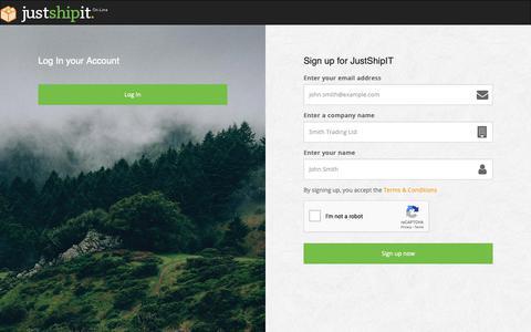 Screenshot of Signup Page justshipit.co.uk - Registration | JustShipIT - captured Oct. 22, 2018
