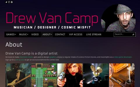 Screenshot of About Page drewvancamp.com - About | Drew Van Camp - captured Feb. 8, 2016