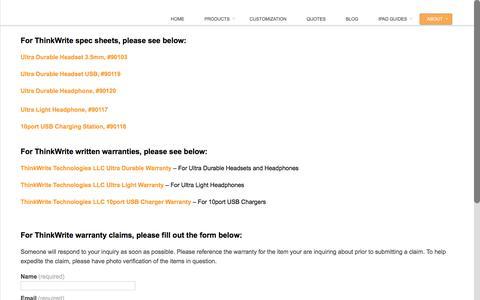 Screenshot of Support Page ithinkwrite.com - SUPPORT - ThinkWriteThinkWrite - captured Dec. 2, 2016