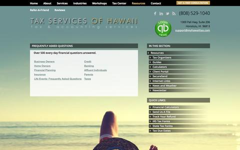 Screenshot of FAQ Page taxservicesofhawaii.com - Honolulu, HI Tax & Accounting Firm | Frequently Asked Questions Page | Tax Services of Hawaii Inc. - captured Feb. 27, 2016