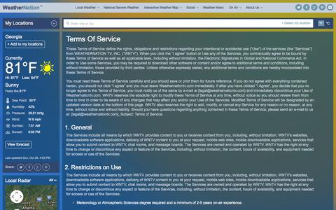 Screenshot of Terms Page weathernationtv.com - Terms Of Service | Weather Video, Weather, Forecasts | WeatherNation - captured Oct. 26, 2014