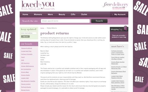 Screenshot of Support Page lovedbyyou.co.uk - Product Returns - Loved by You - Online Shop - captured Sept. 30, 2014