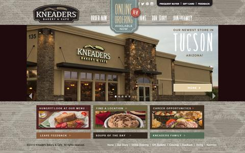 Screenshot of Home Page kneaders.com - Kneaders Bakery & Cafe - Home - captured Sept. 1, 2015