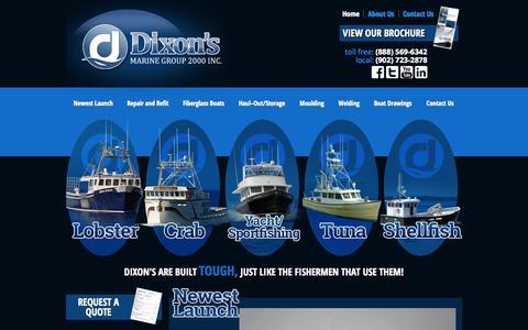 Screenshot of Home Page dixonsmarine.com - Dixon's Marine Group 2000 Inc | Lower Woods Harbour, NS - captured Sept. 20, 2015