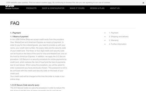 Screenshot of FAQ Page usm.com - USM Online Shop   FAQ - USM - captured Aug. 29, 2016