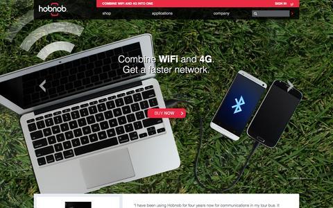 Screenshot of Home Page hobnob.com - Hobnob - Combine WiFi and 4G. Get a faster network. - captured Oct. 2, 2014