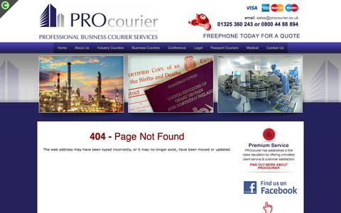 Screenshot of Terms Page 404 Page procourier.co.uk - 404 Error - captured Oct. 1, 2014