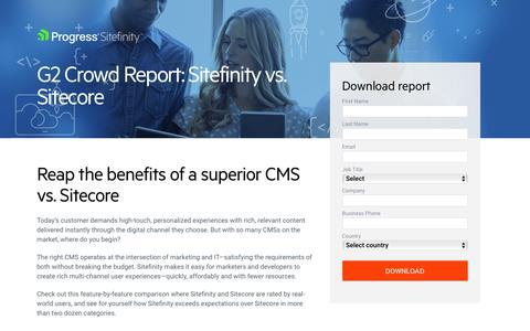 Screenshot of Landing Page progress.com - G2 Crowd Report Sitefinity vs Sitecore - captured July 17, 2019