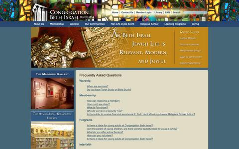 Screenshot of FAQ Page beth-israel.org - Congregation Beth Israel - Reform Jewish Synagogue in Houston, Texas. Torah Teachings. The Shlenker School for Pre-K to Fifth Grade Children. Hebrew Religious School for Children and Adults. - captured Oct. 3, 2014