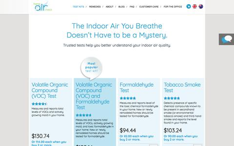Screenshot of Products Page homeaircheck.com - Indoor Air Quality Testing Kits from Home Air Check - captured Jan. 29, 2018