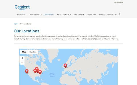 Screenshot of Locations Page catalent.com - Our Locations - Catalent Biologics - captured Dec. 8, 2018