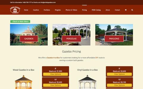 Screenshot of Pricing Page amishgazebos.com - Gazebo Pricing - Wood and Vinyl Options   Amish Country Gazebos - captured Jan. 10, 2017