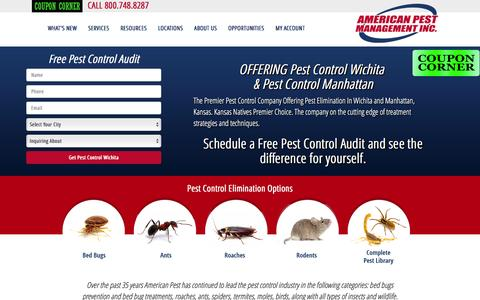 Screenshot of Home Page americanpestonline.com - Pest Control in Wichita. Pest Control in Manhattan. Bed bugs - captured Feb. 6, 2016
