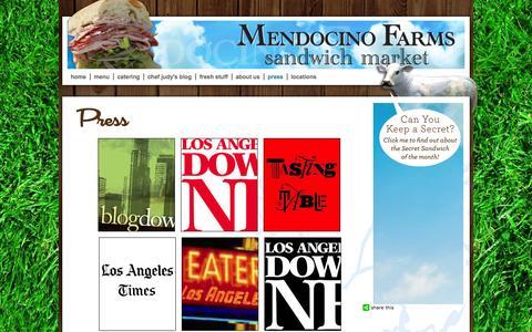 Screenshot of Press Page mendocinofarms.com - Press   Vegetarian Restaurants LA   Mendocino Sandwiches - captured Oct. 31, 2014