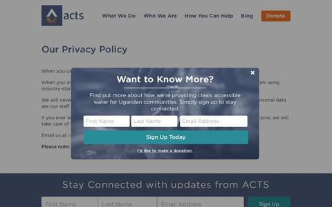 Screenshot of Privacy Page acts.ca - ACTS.ca | Our Privacy Policy - ACTS.ca - captured Oct. 7, 2017