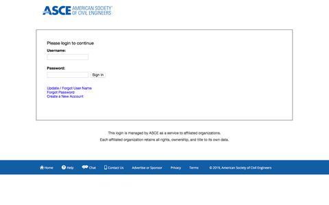 Screenshot of Login Page asce.org - Single Sign On - captured Jan. 27, 2020