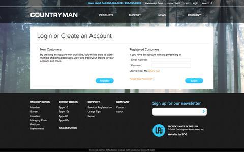 Screenshot of Login Page countryman.com - Customer Login  | Countryman Associates, Inc. - captured Oct. 3, 2014