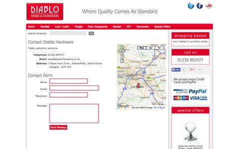 Screenshot of Contact Page diablohardware.co.uk - Contact | Diablo Hardware - Kitchens, Bathrooms & Bedrooms - captured Sept. 30, 2014