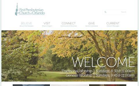 Screenshot of Home Page fpco.org - First Presbyterian Church of Orlando - captured Feb. 10, 2016