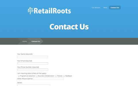 Screenshot of Contact Page retailroots.com - Contact Us   RetailRoots - captured Oct. 26, 2014