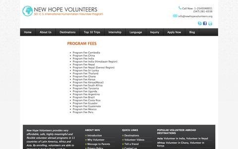 Screenshot of Pricing Page newhopevolunteers.org - Program  Fees | New Hope Volunteers - captured Oct. 19, 2016