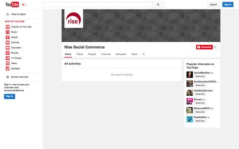 Screenshot of YouTube Page youtube.com - Rise Social Commerce  - YouTube - captured Oct. 26, 2014