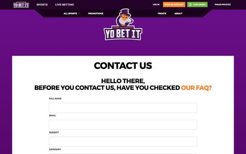 Screenshot of Contact Page yobetit.com - Yobetit.com - The home of Sports betting - captured June 18, 2017