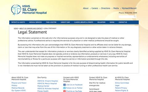 Screenshot of Terms Page cmhospital.org - Legal Statement | HSHS St. Clare Memorial Hospital - captured Nov. 10, 2016