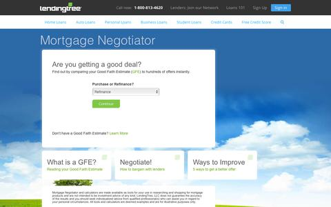 Screenshot of lendingtree.com - Mortgage Negotiator - captured Oct. 11, 2016