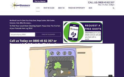 Screenshot of Home Page ovengleamers.com - Oven Cleaning Services UK - Company Oven, AGA Cleaning Service - captured Aug. 15, 2016